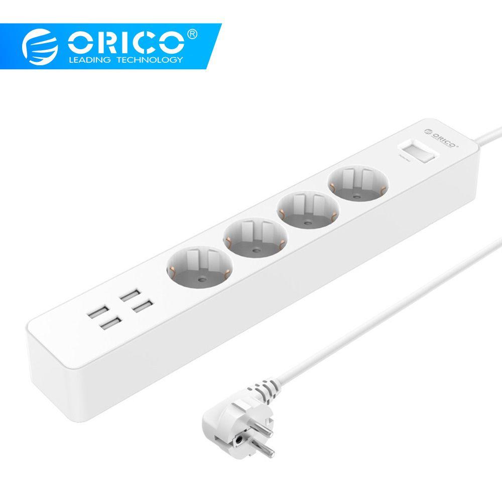 ORICO Puissance Bande Électrique Socket Home Office UE/ROYAUME-UNI Surge Protector Avec 4 USB Chargeur 4 AC Plug Multi -sortie