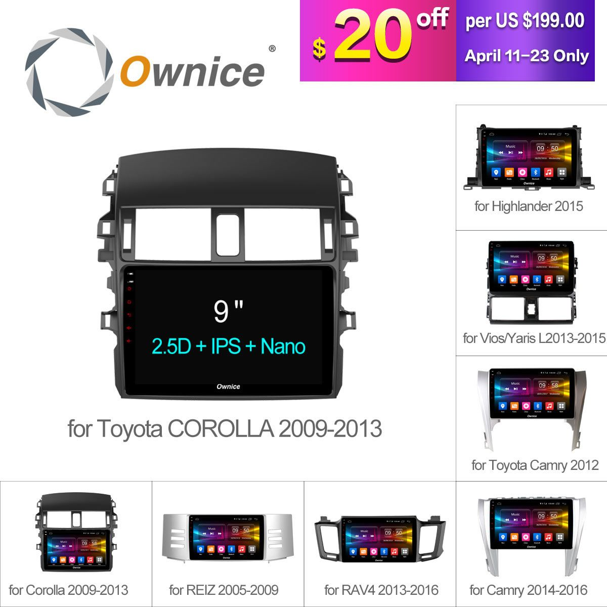 Ownice C500+ Android 6.0 8 Core Car Radio GPS DVD For Toyota Universal corolla RAV4 CAMRY Highlander VIOS YARiS L REIZ 2015 2016