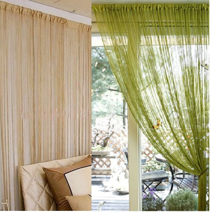 300x300cm solid beige grey coffee purple white black blue window screening rod pocket string curtain door divider curtains