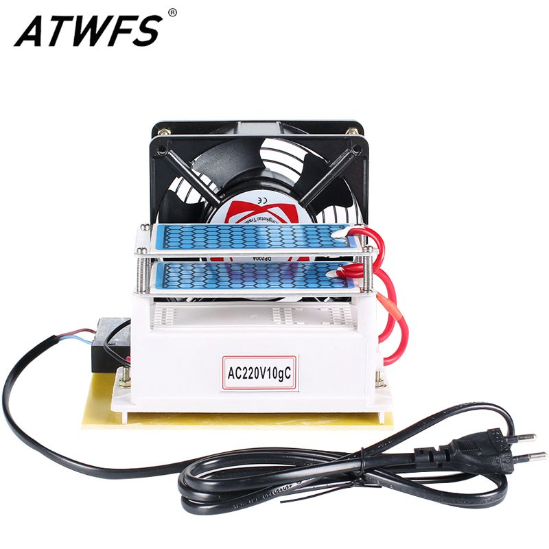 ATWFS Ozone Generator 220v 10g/h with Double Sheet Ceramic Plate Long Life Ozonizer Sterilizer Fan Excellent Heat Dissipation