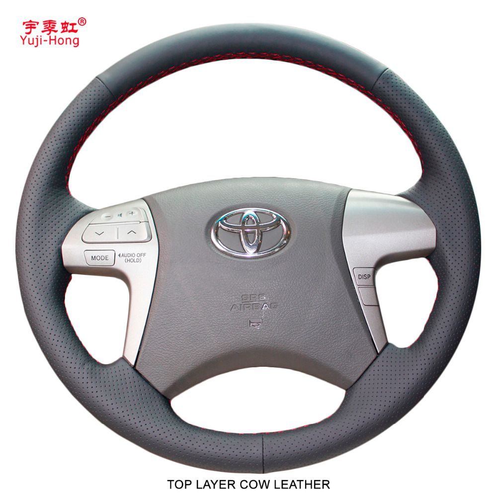 Yuji-Hong Auto Lenkung Deckt Fall für Toyota Highlander 2009-2013 Camry 2009-2011 Fortuner 2015 Top schicht Kuh Leder Abdeckung