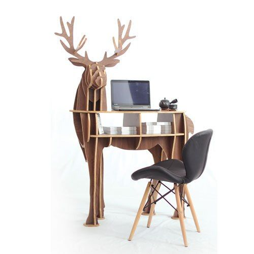 Large size Christmas deer table European DIY Arts Crafts Home Decorative elk wood craft gift desk self-build puzzle furniture
