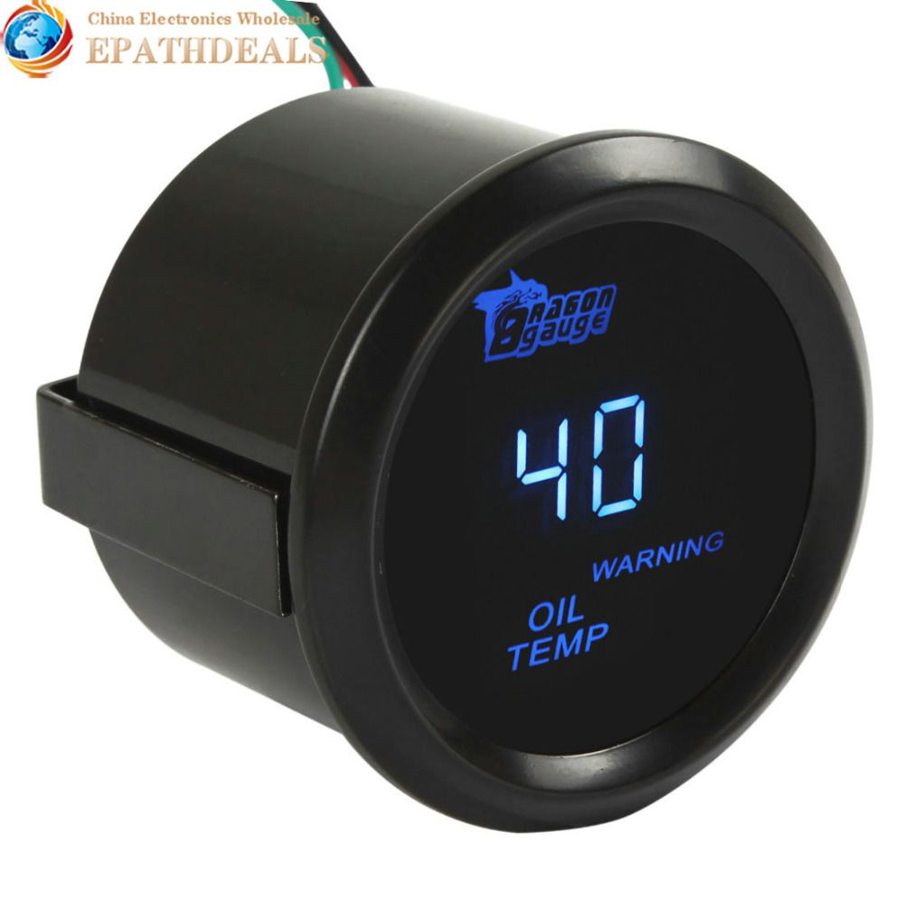 2 Inch / 52mm Digital Blue LED Electronic Oil Temp Temperature Gauge Meter Kit for Auto Car / Trucks / Motor