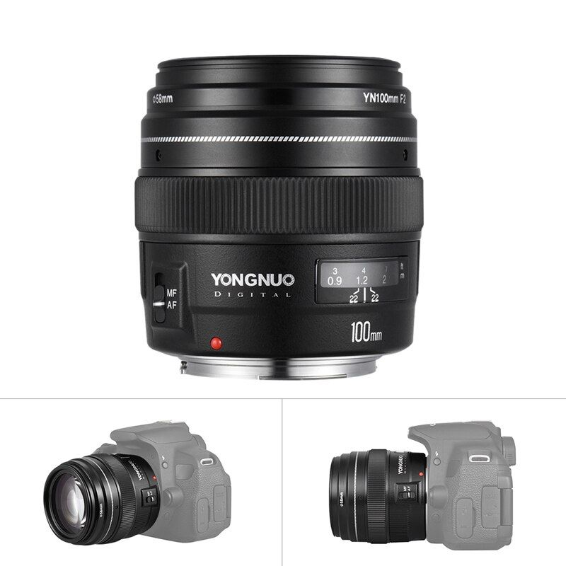 Yongnuo YN100mm F2 Medium Telephoto Prime Lens for Canon EOS Rebel Camera AF MF 5D 5D IV 1300D T6 760D 750D