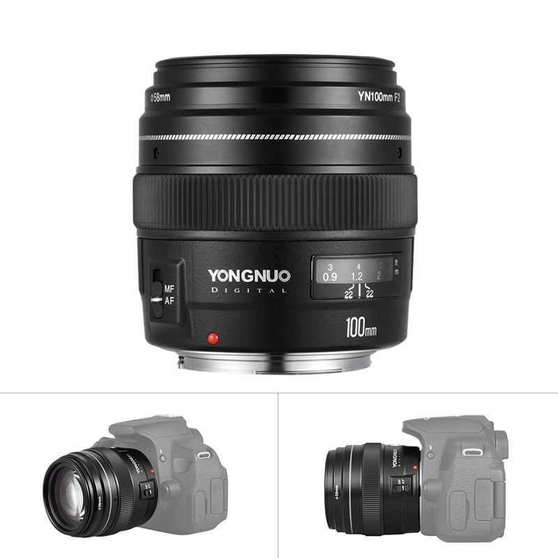 Yongnuo YN100mm F2 Medium Telephoto Prime Lens for Canon EOS Rebel Camera AF MF 5D 5D IV 1300D T6 760D 750D