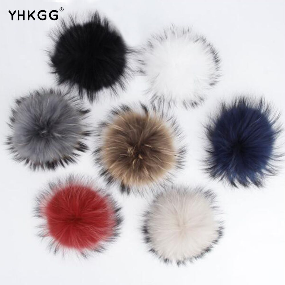 Real raccoon fur pom poms real fur hat in winter hats for women&kintted hat & fur cap&children accessories