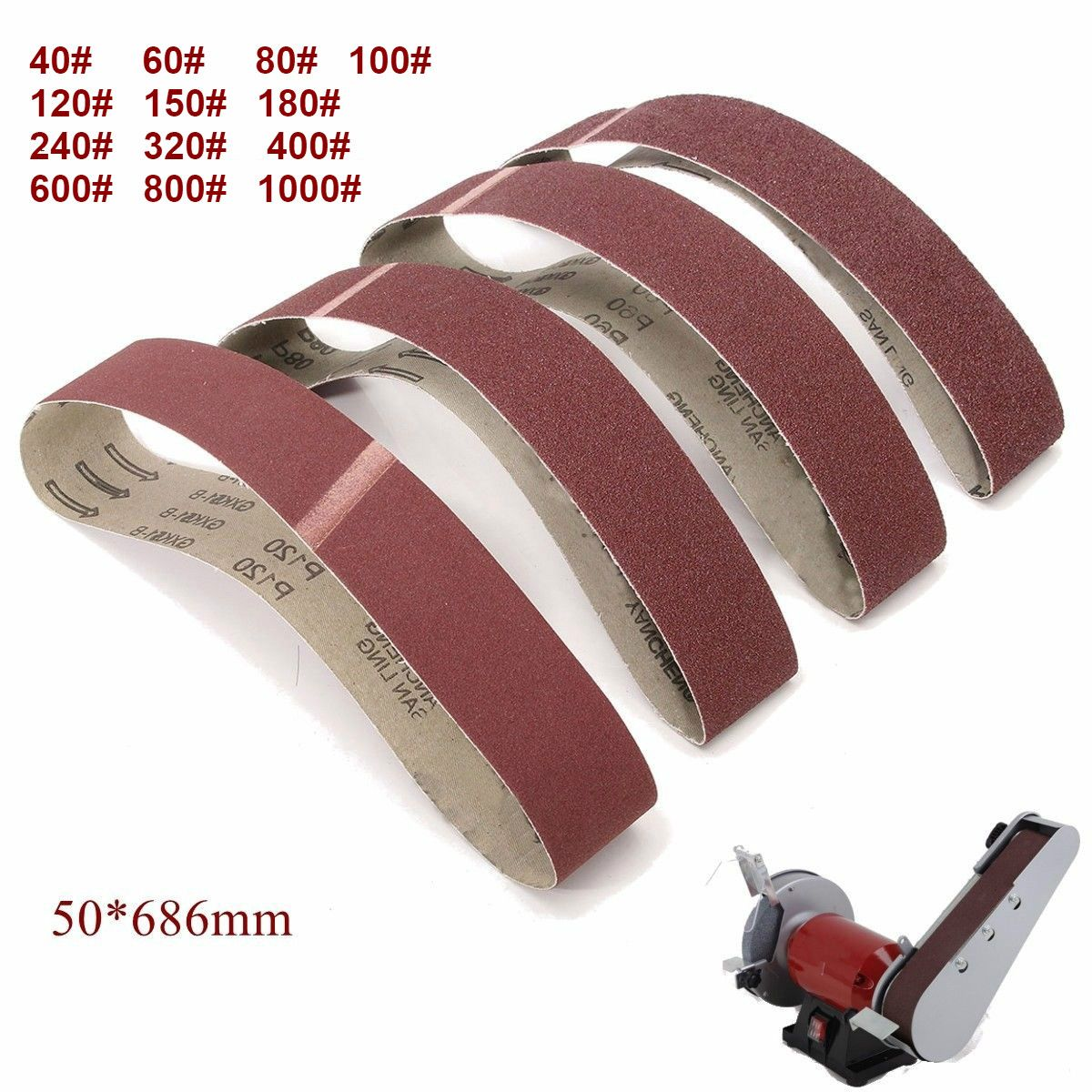 Paquet de 10 bandes abrasives 686*50mm 40-1000 bandes abrasives de ponceuse d'oxyde d'aluminium