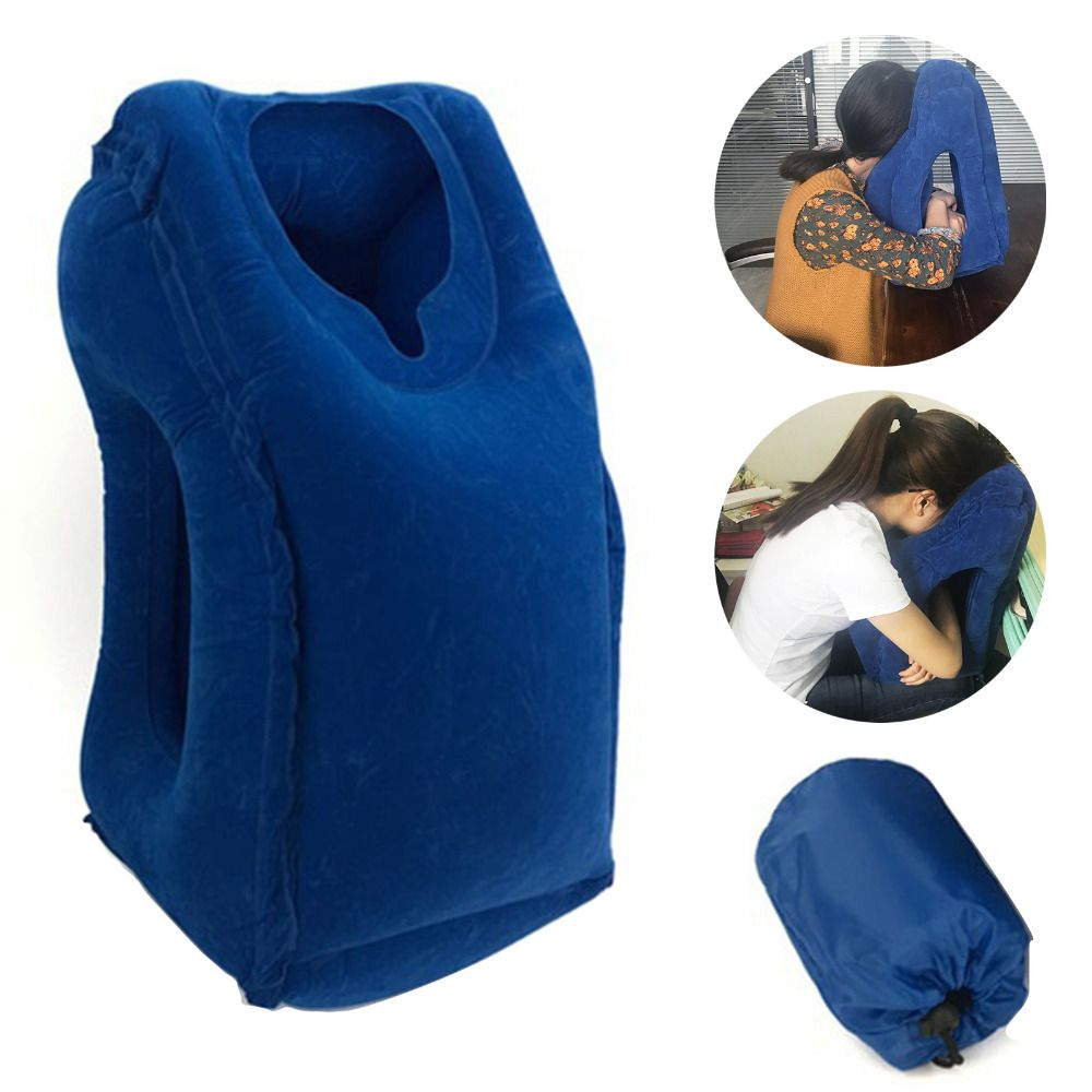 50*35cm Inflatable Travel Pillow Airplane Neck Chin <font><b>Head</b></font> Support Innovative Travel Sleeping Pillow Train Cushion Home Textile