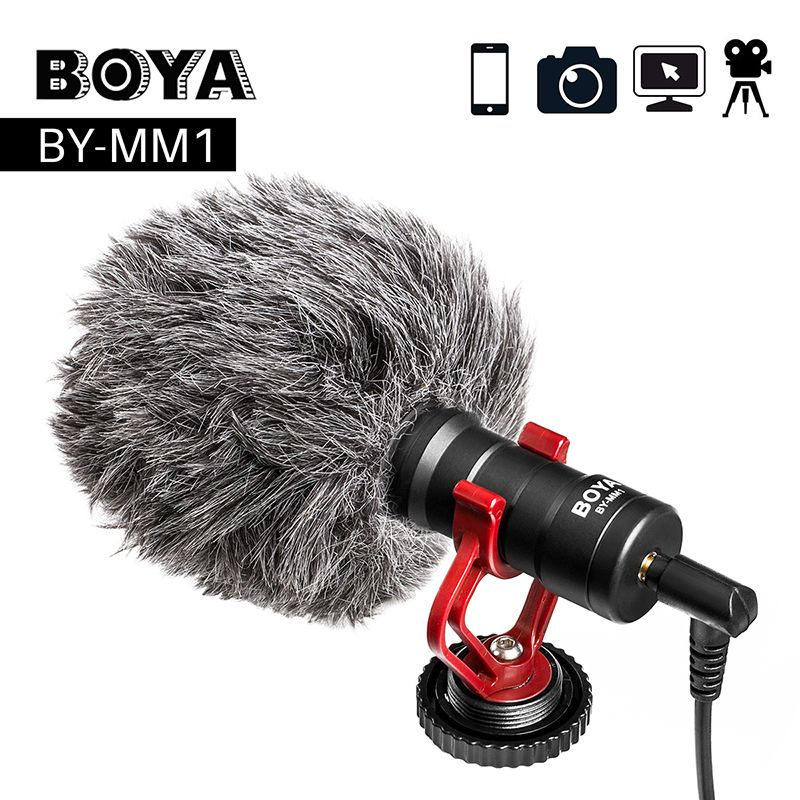 BOYA BY-MM1 Video Record Microphone Compact VS Rode VideoMicro On-Camera Recording Mic for iPhone X 8 7 <font><b>Huawei</b></font> Nikon Canon DSLR