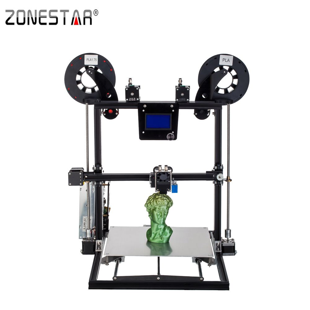 ZONESTAR 2017 Newest Aluminum Metal Large Big Size Fast Assembly Auto Level Laser Engraving Filament Run out Detect 3d printer