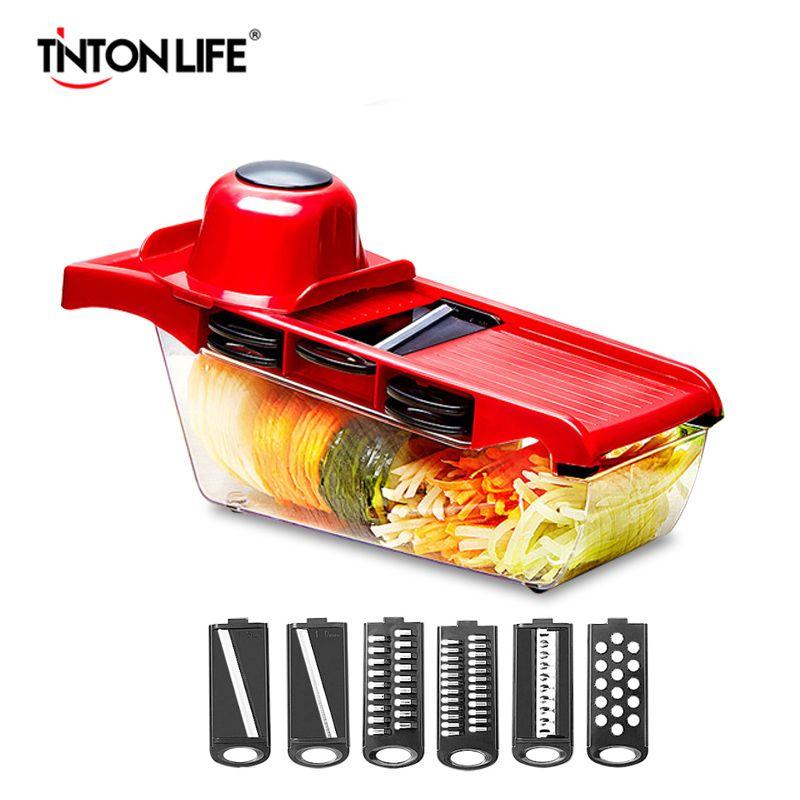 TINTON LIFVE coupe-légumes lame acier Mandoline trancheuse manuel éplucheur de pommes de terre carotte fromage râpe Dicer accessoires de cuisine