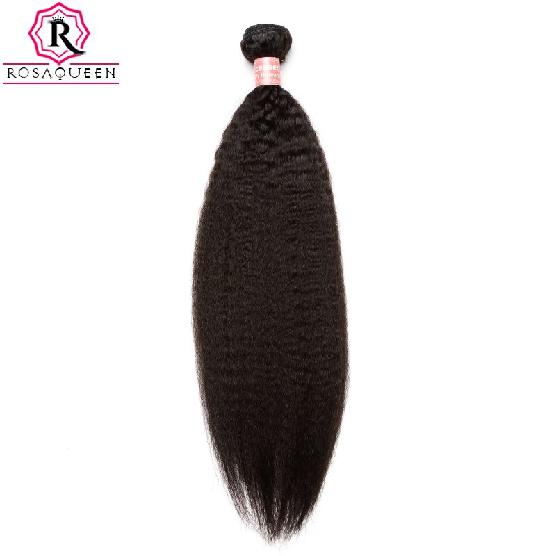 Kinky Straight Hair Brazilian Hair Weave Bundles Coarse Yaki 100% Human Hair Bundles Rosa Queen Hair Products Remy Extensions