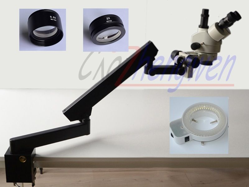 FYSCOPE  3.5X-90X STEREO ZOOM MICROSCOPE +ARTICULATING STAND WITH CLAMP+144LED