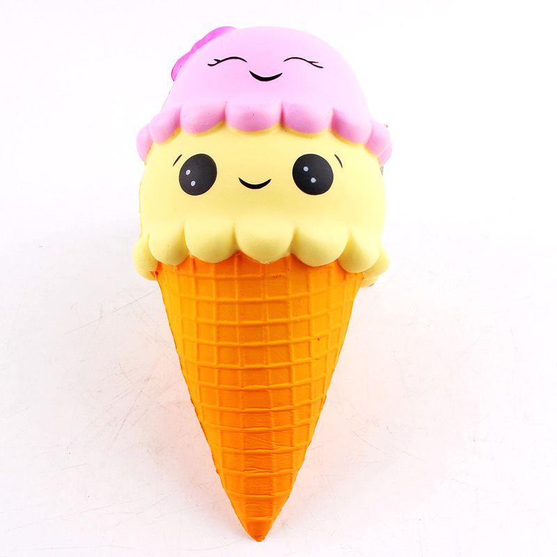 22CM Jumbo Squishy Ice Cream Smile Kawaii Squishies Slow Rising Soft Squeeze Stuffed Squishy Toys Phone Decor Charms Gifts