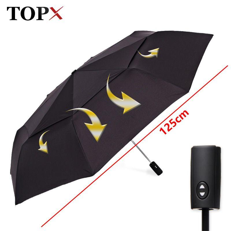 125 см большой автоматический качество двойной слой зонтик дождь женщины 3 раза ветрозащитный большой открытый зонтик мужчины женщина Paraguas