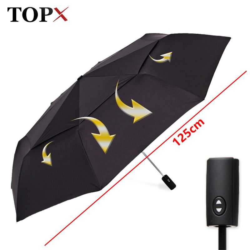 125cm Big Automatic Quality Double Layer Umbrella Rain Women 3Fold Windproof Large Outdoor Umbrella Men Woman Paraguas Parasol