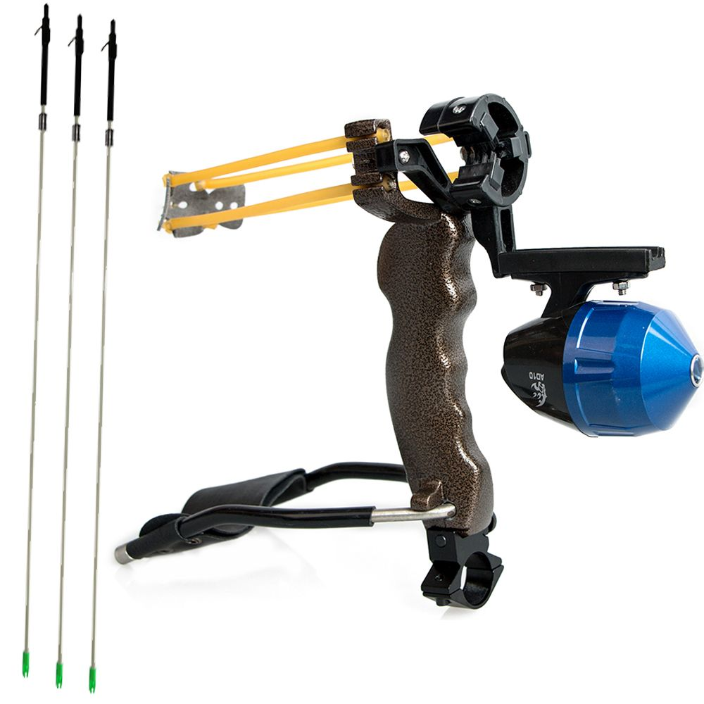 Outdoor Bow Fishing Arrow with Bowfishing Arrow Broadhead Fiberglass Shafts 6pcs and 1 pc Bow Fishing Slingshot Catapult