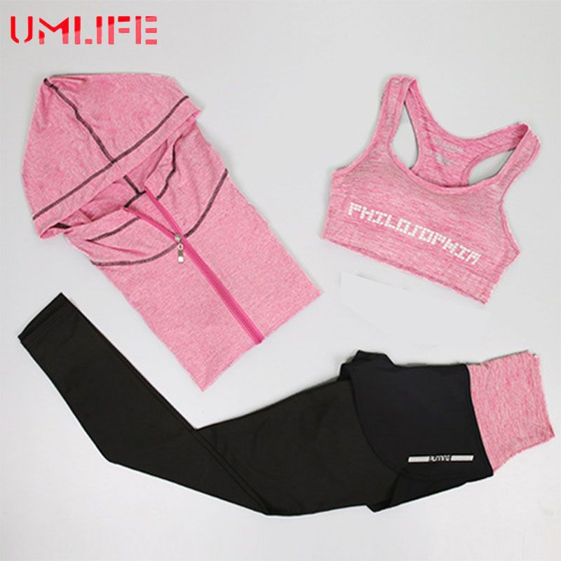 UMLIFE Women Sport Suit Sports Bra and Printed leggings Yoga Set Gym Fitness Running Sportswear Elastic Workout Clothes
