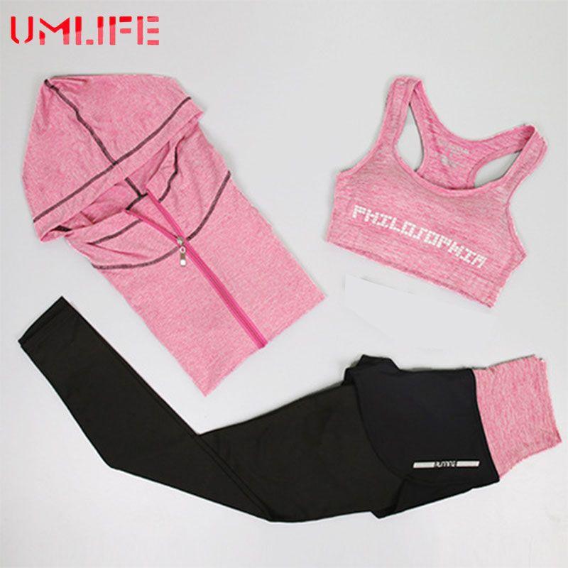 UMLIFE Women Sport Suit Sports Bra and Printed leggings Yoga Set Gym Fitness Running Sportswear Elastic Workout Clothe For Girls