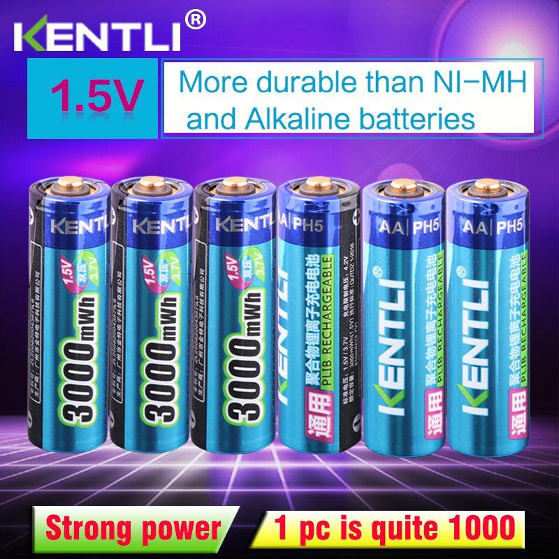 KENTLI 6 pcs/paquet batterie lithium-ion haute capacité 3000mWh 1.5 V batterie lithium-polymère rechargeable AA