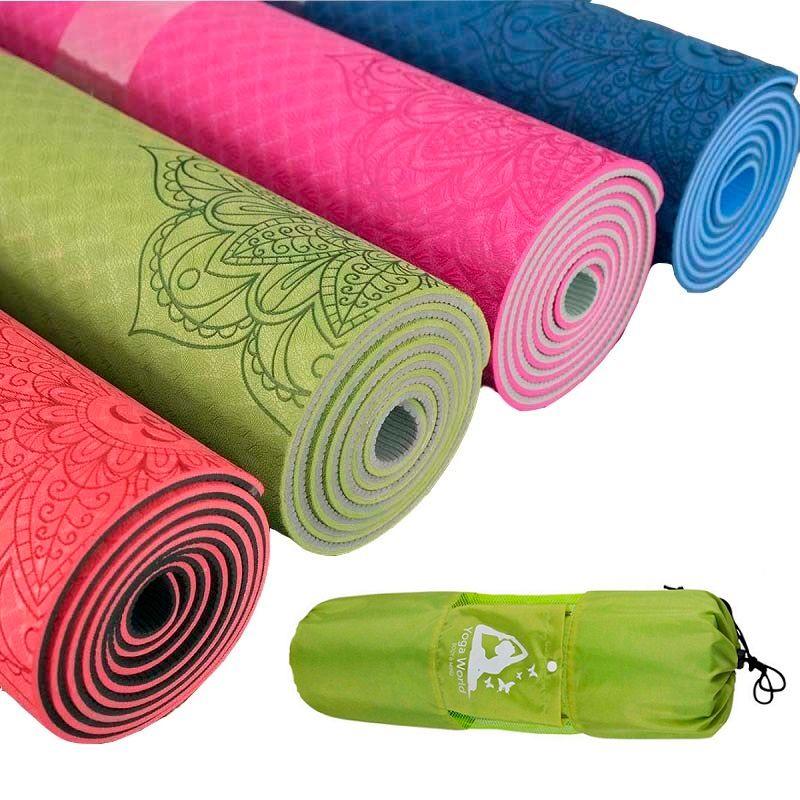 Dature TPE Yoga Mat 6mm Fitness Mat Fitness Yoga Sport Mat Gymnastics Mats With Yoga Bag <font><b>Balance</b></font> Pad Yogamat 183*61cm*6mm