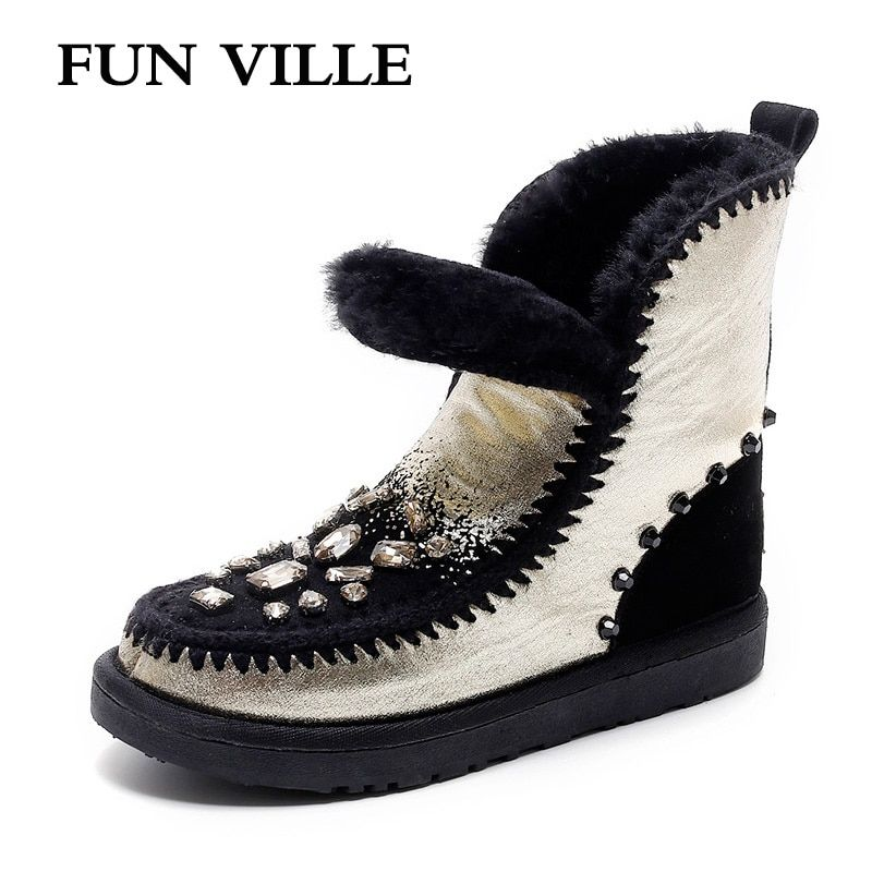 FUN VILLE New Fashion Woman snow boots gold silver Real Fur Wool Ankle boots warm Winter Shoes for Women size 34-43