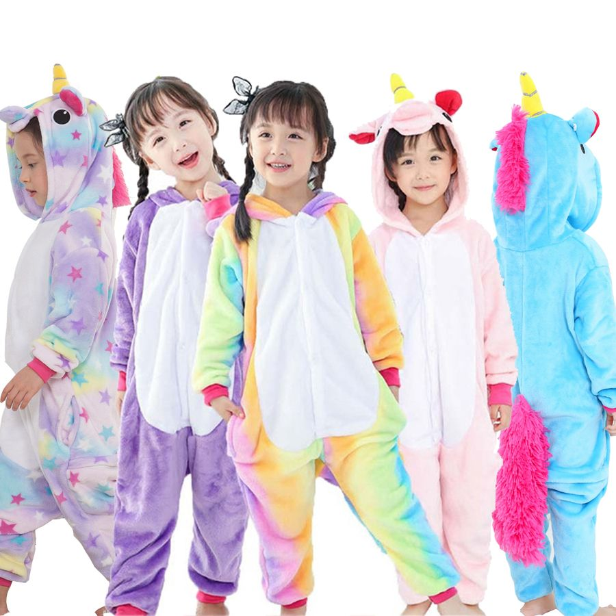 Children Pajamas Unicorn Winter Pajama Cartoon One Piece Sleepwear licorne Coral Fleece Warm Pijamas de Ninos Unicornio <font><b>Inverno</b></font>