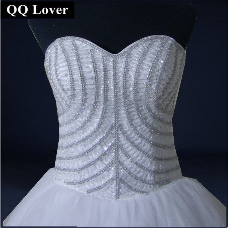 QQ Lover 2018 New Luxury Full Beaded Wedding Dress Bridal Gown Full Rhinestones Ball Gown Custom-made