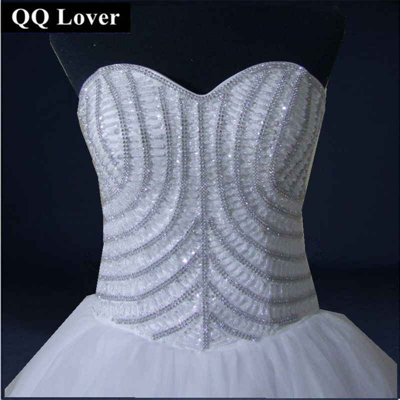 QQ Lover 2018 New Luxury Full Beaded Wedding Dress Bridal Gown Full Rhinestones Ball Gown Custom-made