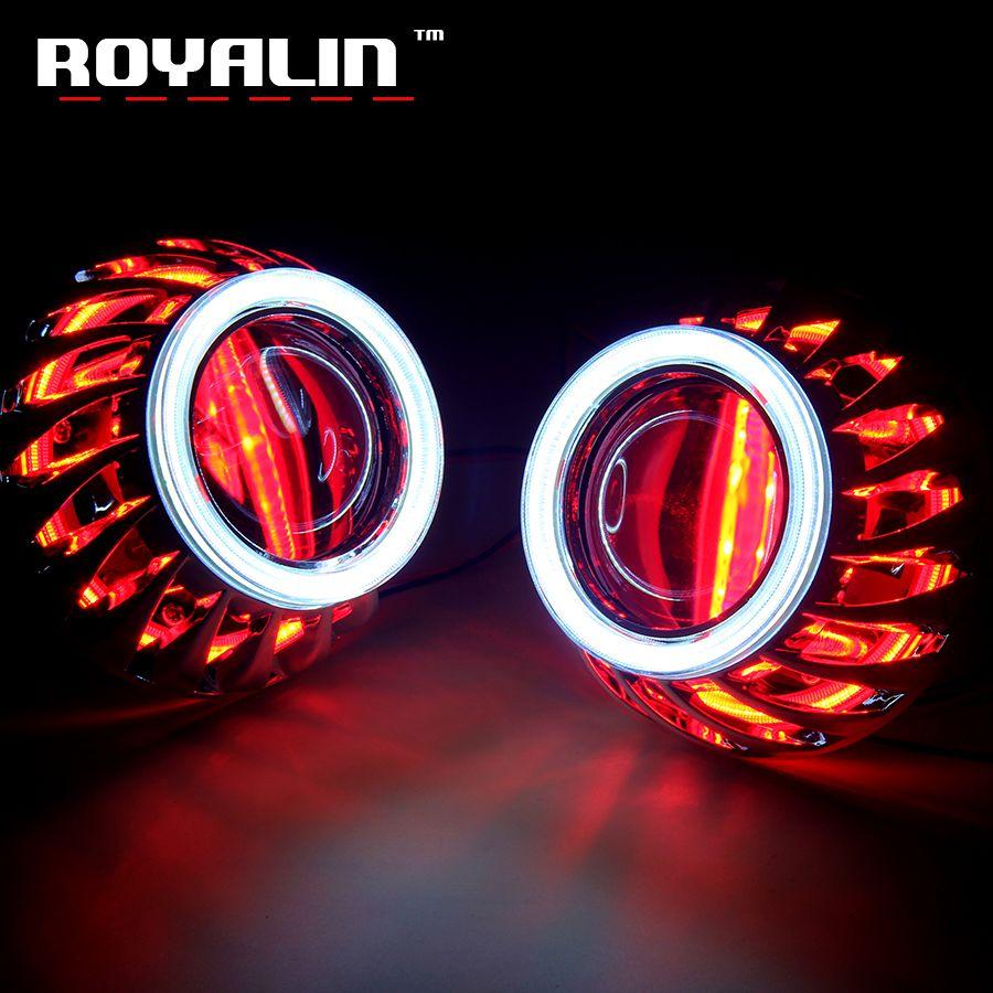 ROYALIN DRL Double ange yeux LED COB Halo anneaux Mini projecteur lentille H1 halogène phare Turbine masques H4 H7 voiture style lumières