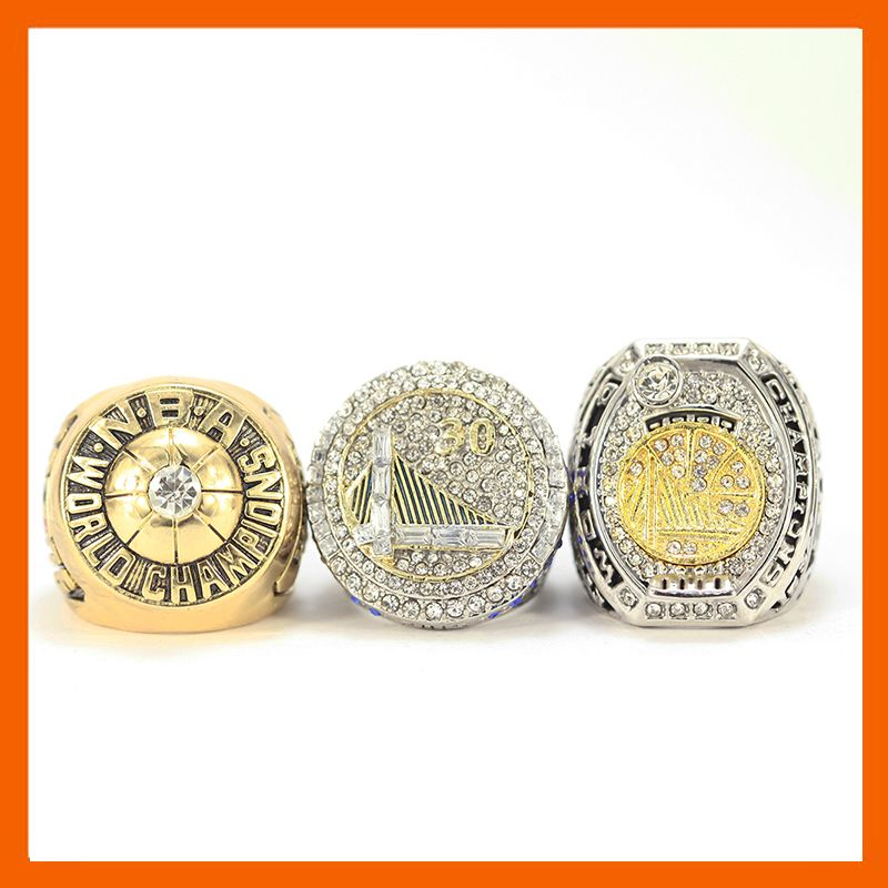 1975 2015 2016 GOLDEN STATE WARRIORS BASKETBALL CHAMPIONSHIP RING, 3 PCS RING SET COLLECTION
