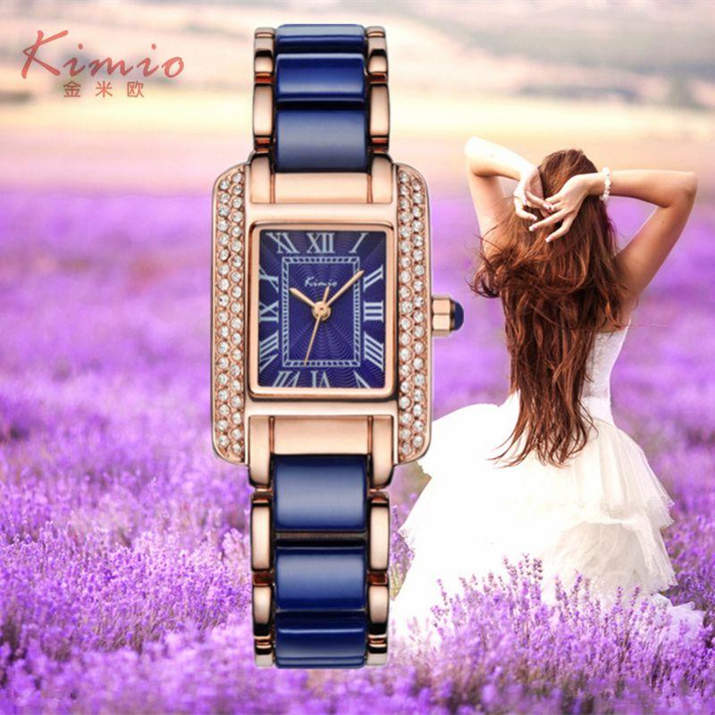 2017 Real New Kimio Luxury Jewelry Ladies Quartz Watch Dress Fashion Casual Women Watches Roman Numerals Rhinestone Bracelets