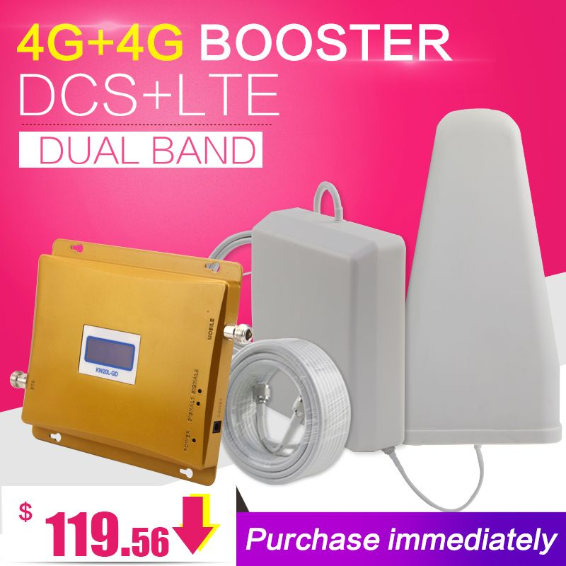 4G+4G Cell Phone Signal Booster 65dB GSM DCS LTE 1800 4G LTE 2600 Dual Band Amplifier Anntena 4G Cellular Repeater Antenna Set