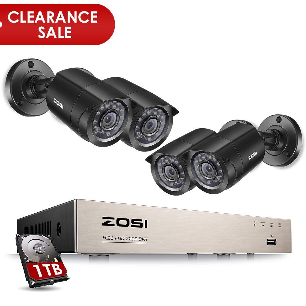 ZOSI 8CH CCTV System 4PCS 1280TVL Outdoor Weatherproof Security Camera 8CH <font><b>720P</b></font> DVR Day/Night DIY Kit Video Surveillance System