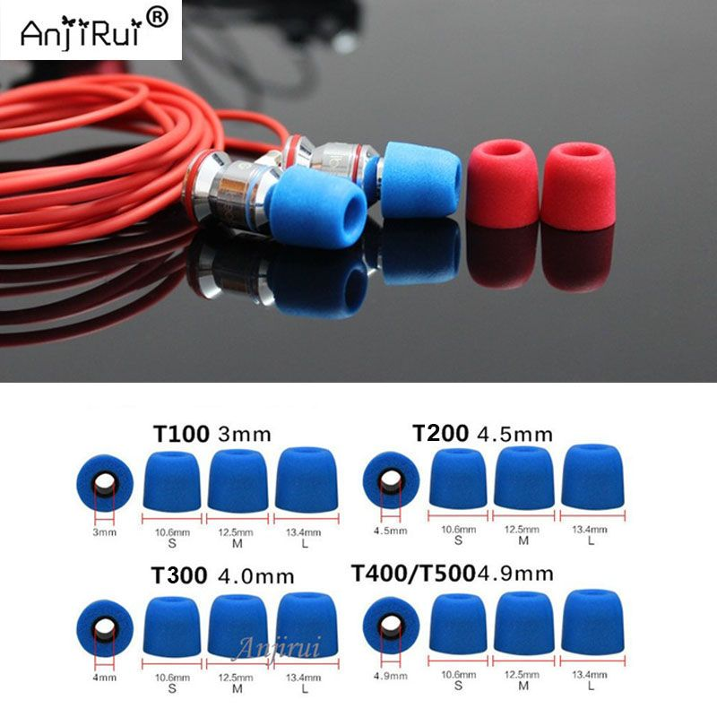 40 pcs/20 paire. ANJIRUI T200 (L M S) Calibre isolation mousse conseils pour in-Ear écouteurs casque écouteurs basses renforcées Coussinets D'oreille