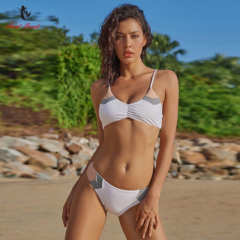Ariel Sarah Marque Bikini 2018 Nouveau Bandage Maillot de Bain Maillots De Bain Femmes Patchwork Bikinis Set Taille Basse Femmes maillot de bain BiquiniQ029