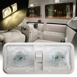 Doble luz de techo 12 V 48 LED Interior techo lectura para barco RV para remolque de remolque plástico 1 unid blanco