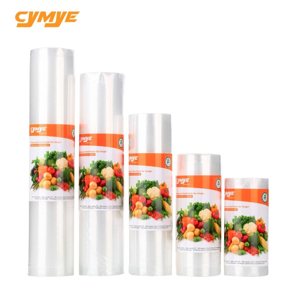 Cymye food Storage saver bags Vacuum Plastic roll custom size Bags For Kitchen Vacuum Sealer to keep food fresh