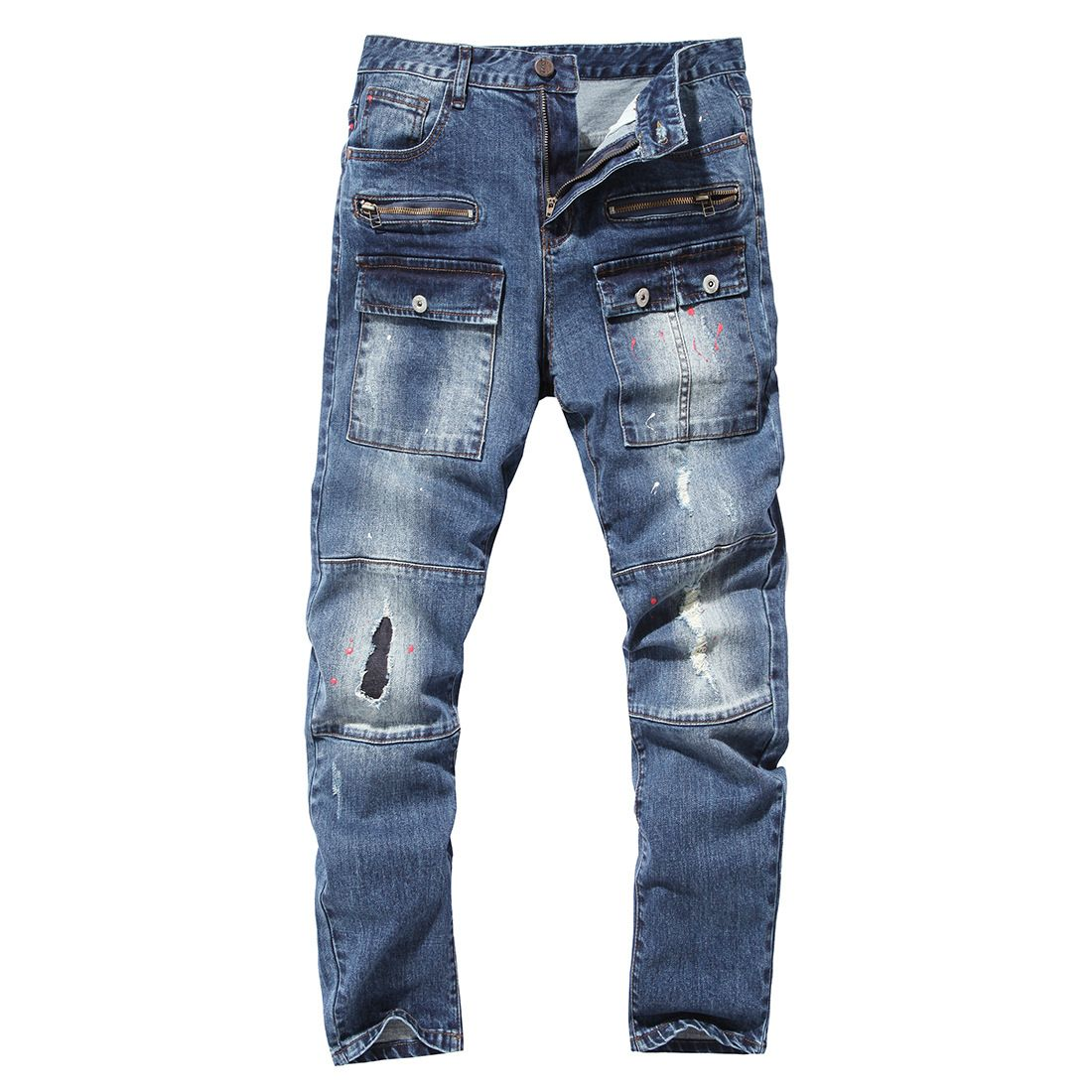 2018 Mens Leg With Hole Straight Slim Biker Denim Jeans Trousers Skinny Pants
