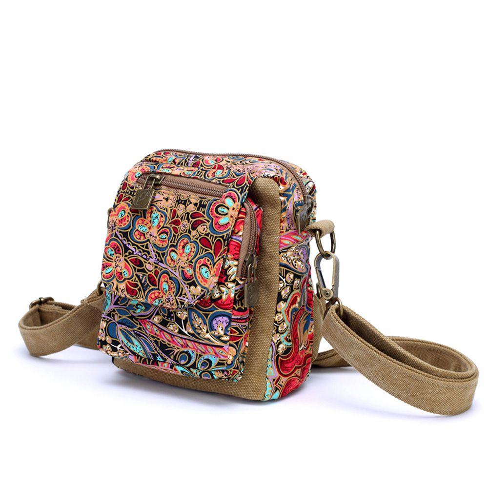 Multifonction toile femme femmes fleur poitrine paquets épaule Oblique petits sacs Acrossbody multi-usages amphibie sacs à main