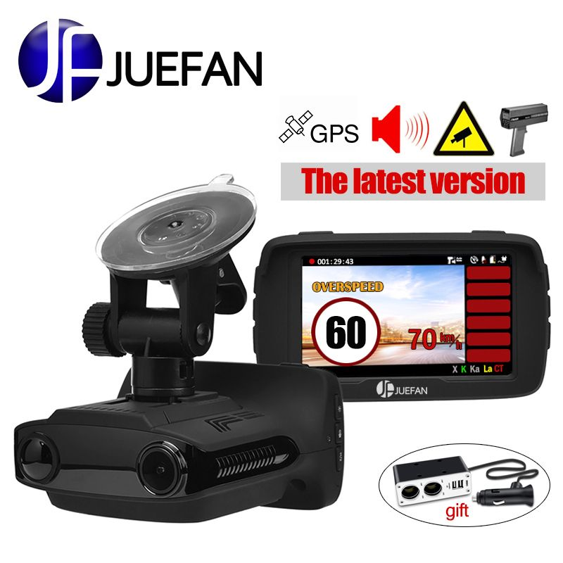 JUEFAN Hot Russia car dvr radar detector <font><b>dash</b></font> cam GPS 3 in 1 Multifunction HD 1296P video cam camera speed display reminder gift