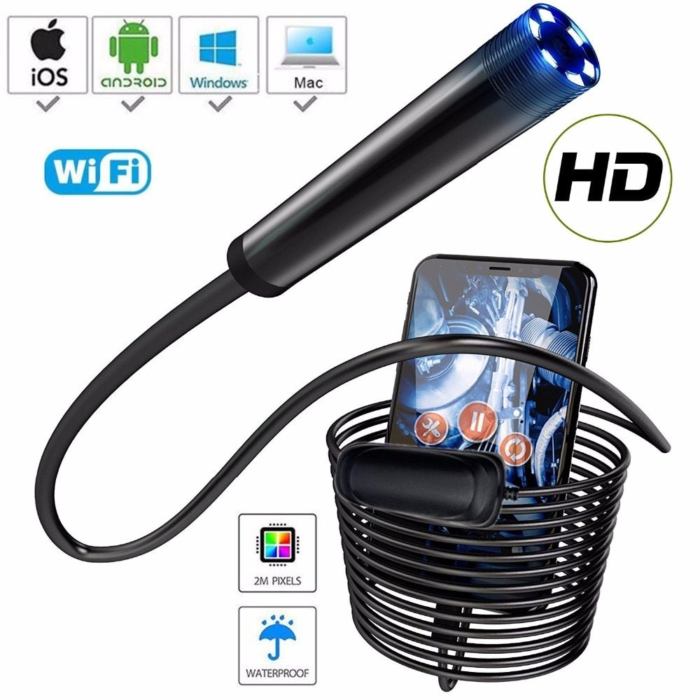 HD1080P Wireless Endoscope 1000mAh Wifi USB Borescope IP68 Waterproof Inspection Camera Semi-rigid Snake Camera