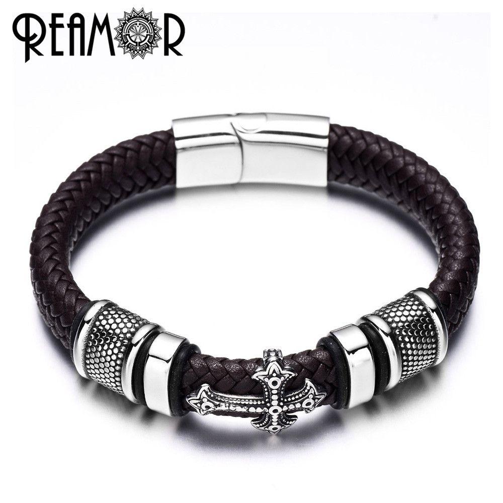 REAMOR 12mm Width Braided Leather Men Bracelets 316L Stainless Steel Cross Charms Cuff Bracelets Bangles Trendy Male Jewelry