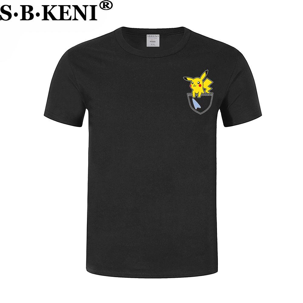 Mode Schöne Pokemon Gehen T Hemd Anime Pika Männer T-Shirts Pikachu Junge T Shirt Baumwolle Kurzarm Plus Größe Junge t-shirt Top shirt