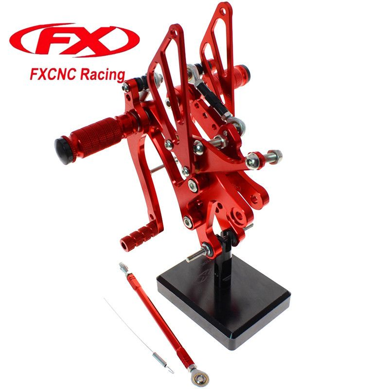 FX CNC Aluminum Adjustable Motorcycle Rearsets Rear Set Foot Pegs Pedal Footrest For YAMAHA YZF R6 1999 - 2002 2000 2001