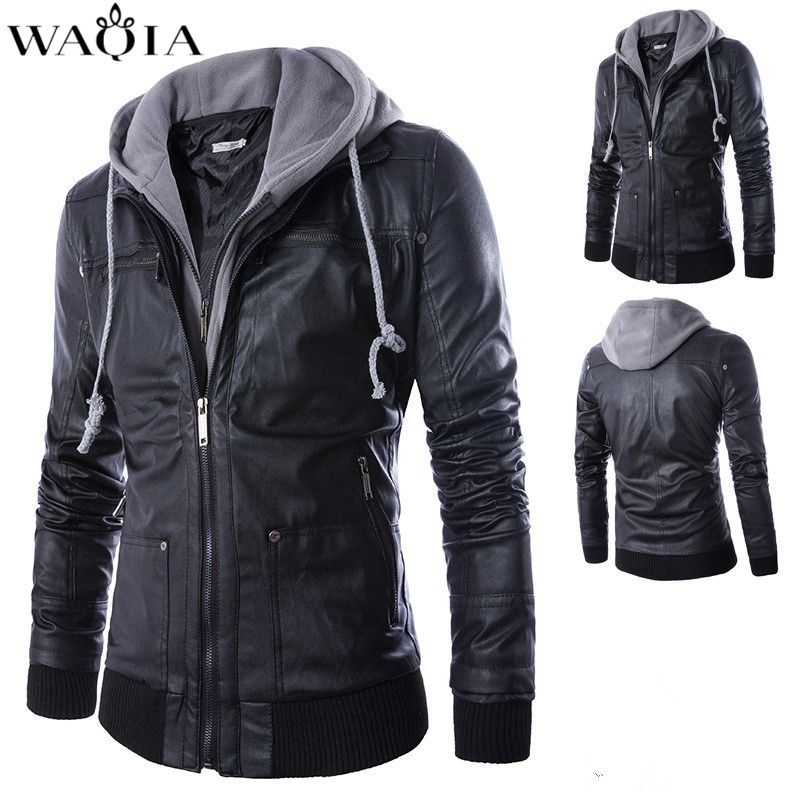 2017 Men Fashion Casual Mens Jacket motorcycle leather coat Mens jackets and Coats With hat Plus Size M- 4XL jaqueta masculino