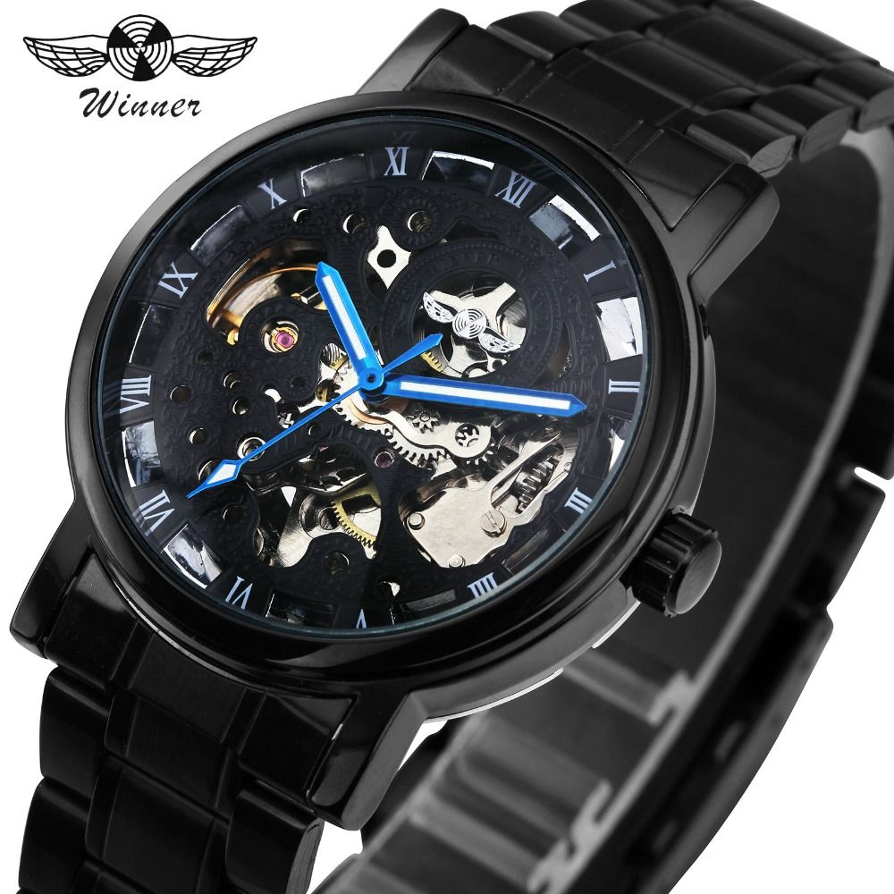 WINNER Men Watches Classic Black Automatic Mechanical Watch <font><b>Cool</b></font> Black Skeleton Unisex Watch HOT TOP LUXURY BRAND with GIFT BOX