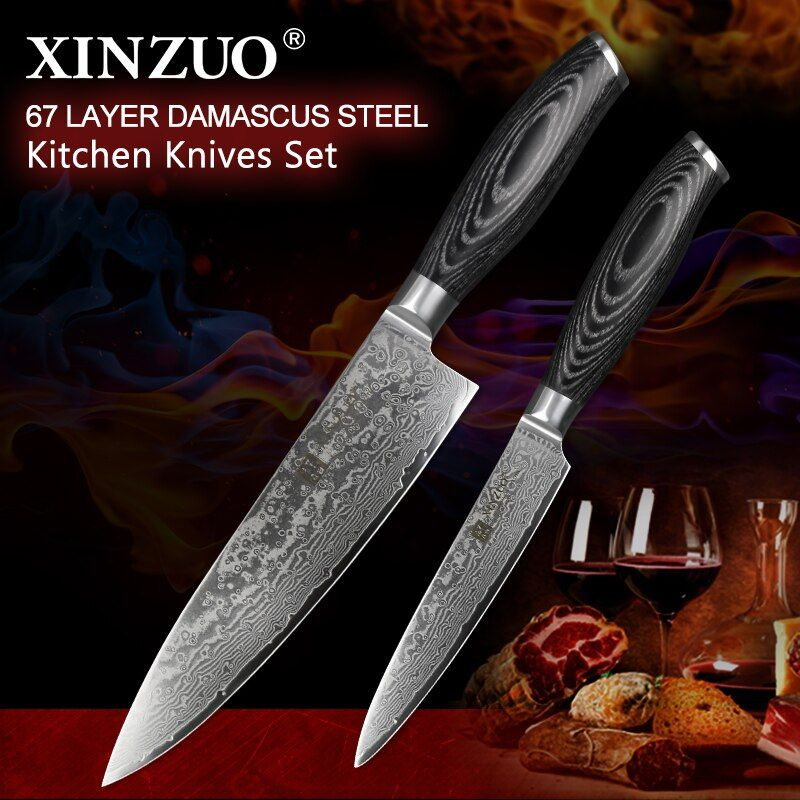 XINZUO 2 Pcs Pro Kitchen Knife Sets Damascus Steel Japan style Kitchen Knives vg10 Chef Utility Knives Pakkawood Handle BBQ Tool