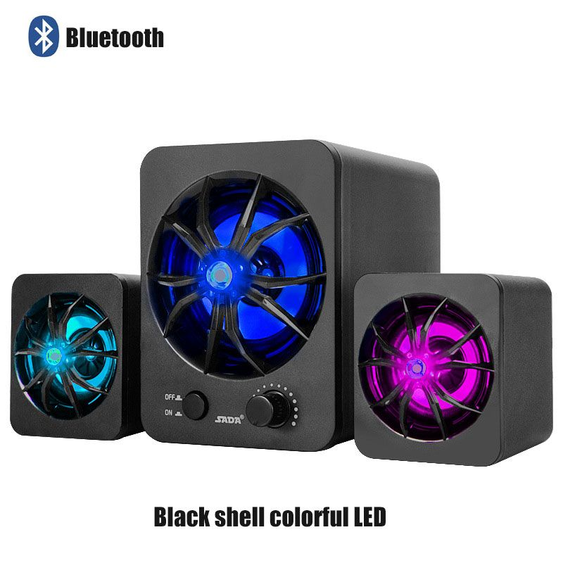 SADA D-217 Bluetooth Version Built-in Colorful LED 2.1 3 Channel Subwoofer Speaker USB Power Computer MP3 Cellphone Speakers