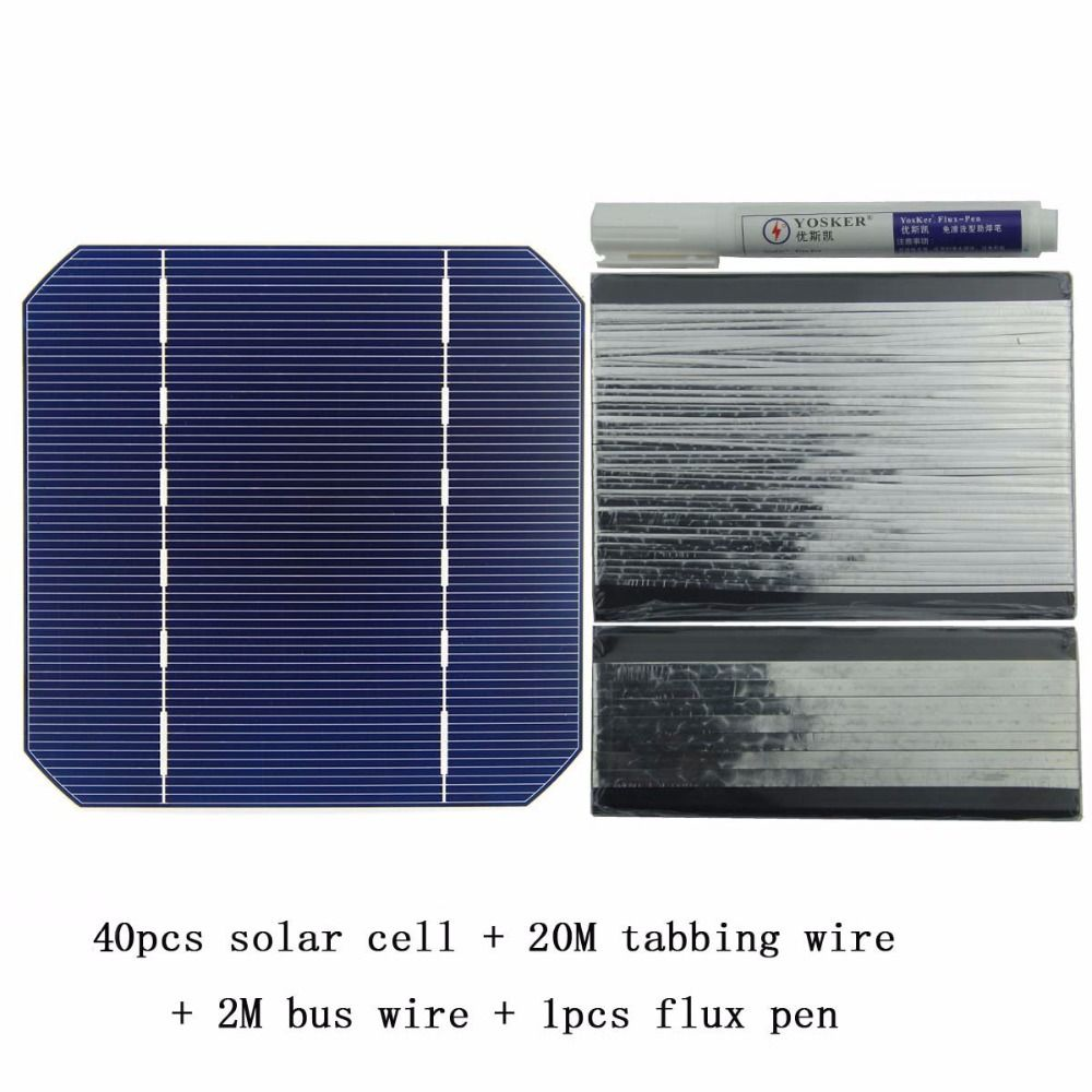 100W DIY <font><b>Solar</b></font> Panel Charger Kit 40Pcs Monocrystall <font><b>Solar</b></font> Cell 5x5 With 20M Tabbing Wire 2M Busbar Wire and 1Pcs Flux Pen